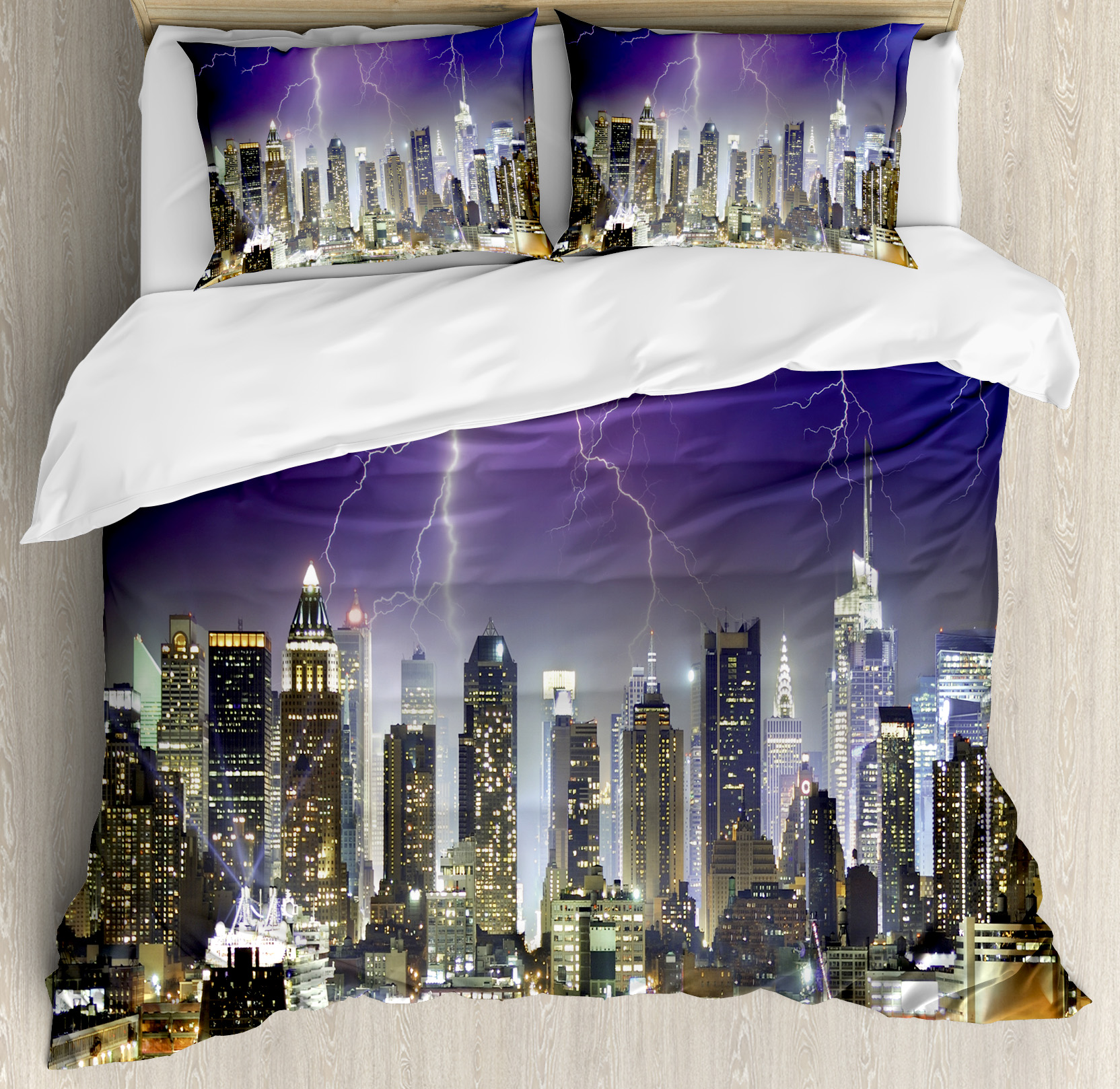 City Queen Size Duvet Cover Set, Storm and Thunder at Night in New York City Apocalyptic Dramatic View, Decorative 3 Piece Bedding Set with 2 Pillow Shams, Indigo Lilac Charcoal Grey, by Ambesonne