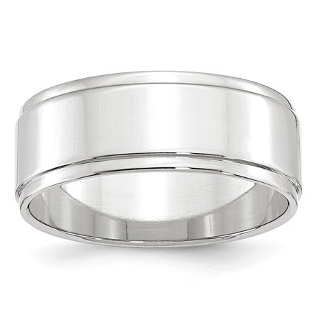 10K White Gold 8mm Flat with Step Edge Band Size 4 to (White Gold Flat Edge Band)