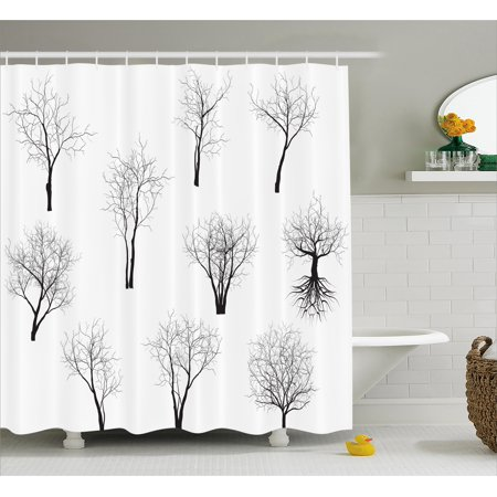 Apartment Decor Shower Curtain, Spooky Horror Movie Themed Branches Forest Trees Nature Art Print , Fabric Bathroom Set with Hooks, 69W X 70L Inches, Black and White, by Ambesonne