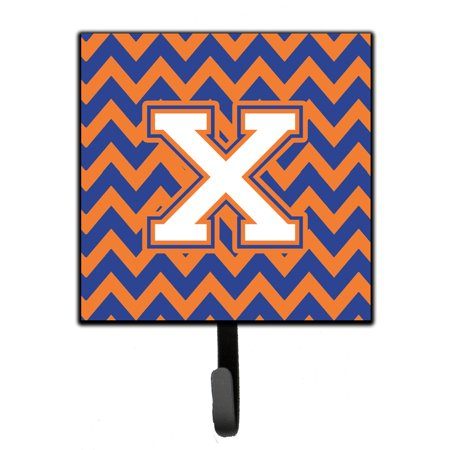 letter a and b letter x chevron blue and orange 3 leash or key holder 9632