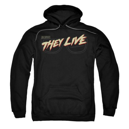 They Live Mens  Glasses Logo Hooded Sweatshirt Black