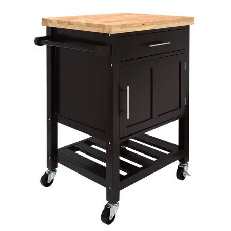 Homegear Kitchen Cart Butchers Block with Shelf and Cabinet on Wheels (Butcher Block Kitchen)