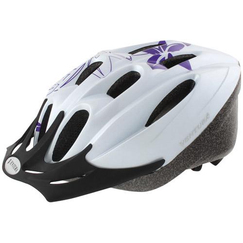 Ventura White Flower Cycle Helmet, Youth