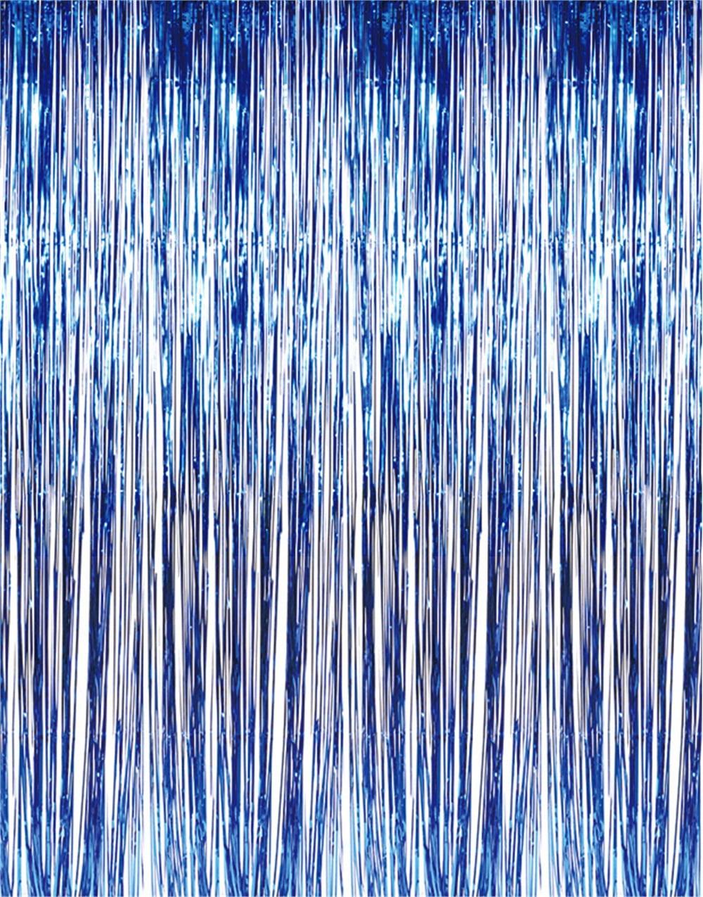 2 Packs Foil Fringe Backdrop Blue 3FTX8FT Metallic Door Window Curtain Tinsel