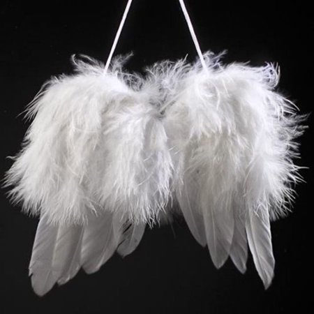 Girl12Queen Mini Angel White Feather Wing Wedding Decoration Christmas Tree Hanging Ornament - White Feather And Angels