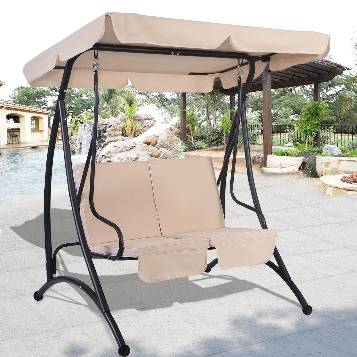 Ordinaire Costway Beige 2 Person Canopy Swing Chair Patio Hammock Seat Cushioned  Furniture Steel