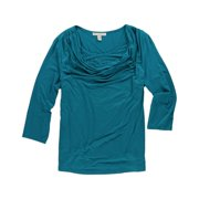 JM Collection Womens Cowl Rhinestone Knit Blouse, green, PL