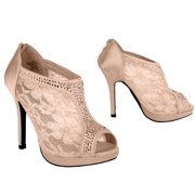 Women's Lace Bridal High Heel Platform Peep Toe Shootie (FREE SHIPPING)