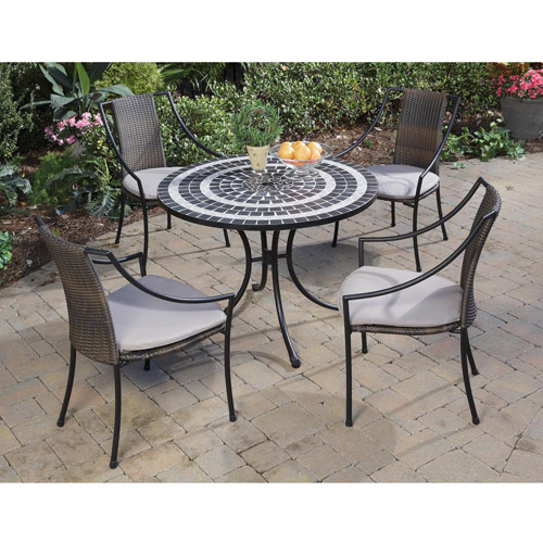 Home Styles Delmar 5 Piece Dining Set with Laguna Slope Armchairs, Black/Slate