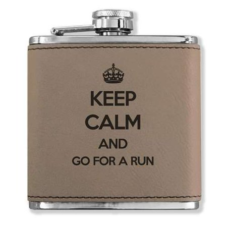 Faux Leather Flask - Keep Calm and Go For A Run - Light Brown