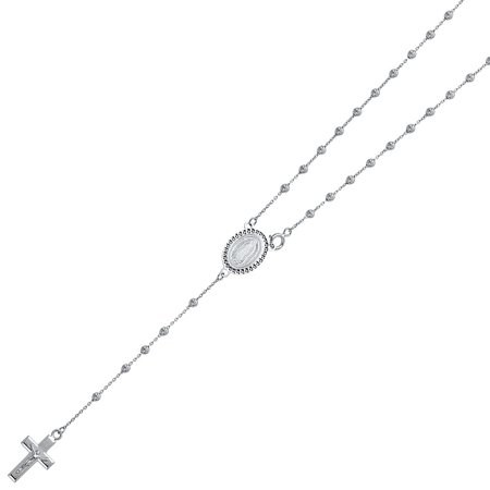 14K Solid White Gold 2.5mm Ball Guadalupe Rosary Rounded Diamond Cut Necklace Religious Cross Crucifix Jesus Rosario Mother Mary 20 Inches (14k White Gold Ball Necklace)