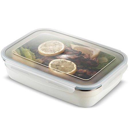 Komax Stenkips Stainless Steel Food Storage Lunch Container Large 57.5oz. - Airtight, Leakproof With Locking Lids - BPA Free Plastic - Microwave, Freezer and Dishwasher Safe