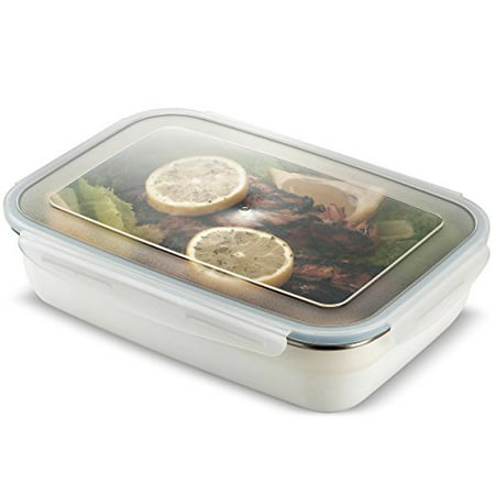 Dishwasher Safe Steel Casserole - Komax Stenkips Stainless Steel Food Storage Lunch Container Large 57.5oz. - Airtight, Leakproof With Locking Lids - BPA Free Plastic - Microwave, Freezer and Dishwasher Safe