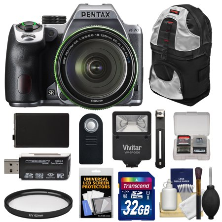 Pentax K-70 All Weather Wi-Fi Digital SLR Camera & 18-135mm WR Lens (Silver) with 32GB Card + Battery + Backpack + Flash + Kit (Pentax Cameras)