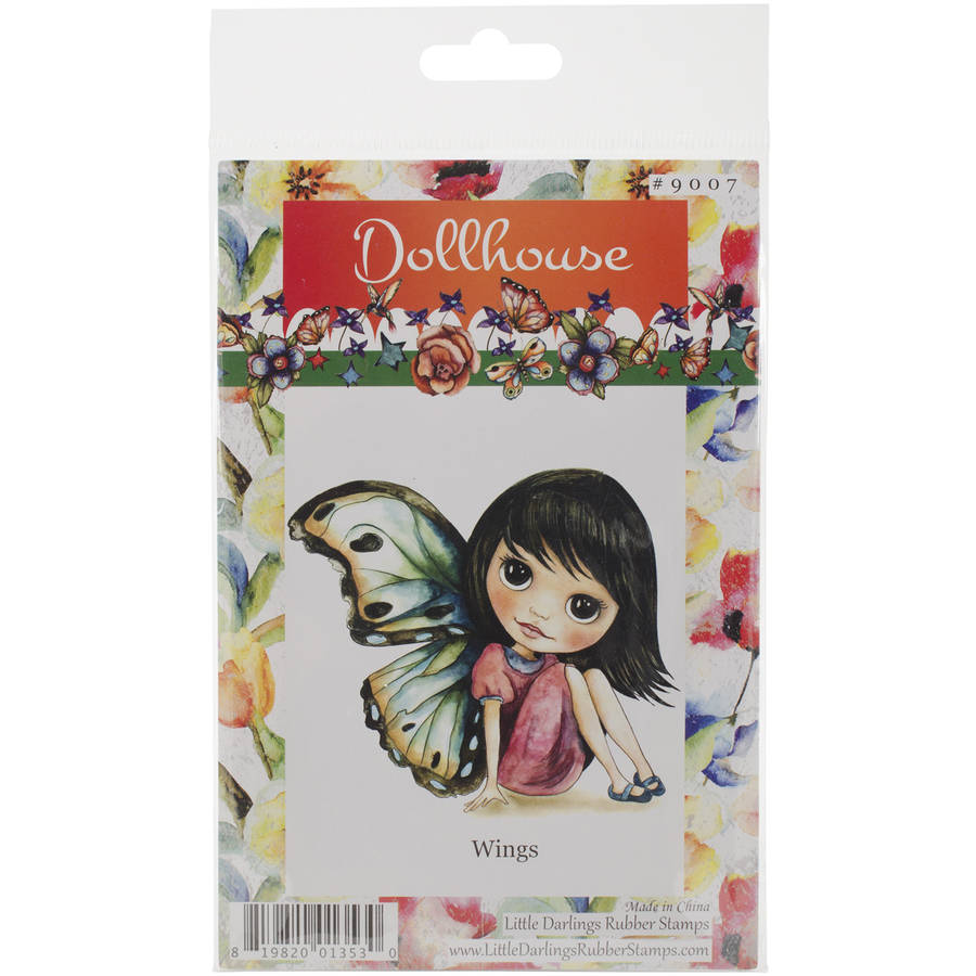 "Dollhouse Cling-Mounted Rubber Stamp, 3"" x 3.5"", Wings"