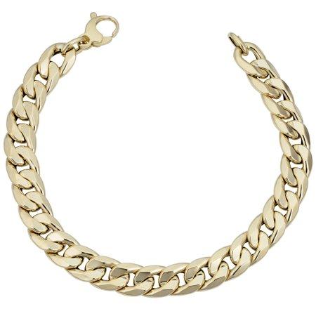 14k Yellow Gold Miami Cuban Curb Hollow Link Mens Bracelet, 8.5