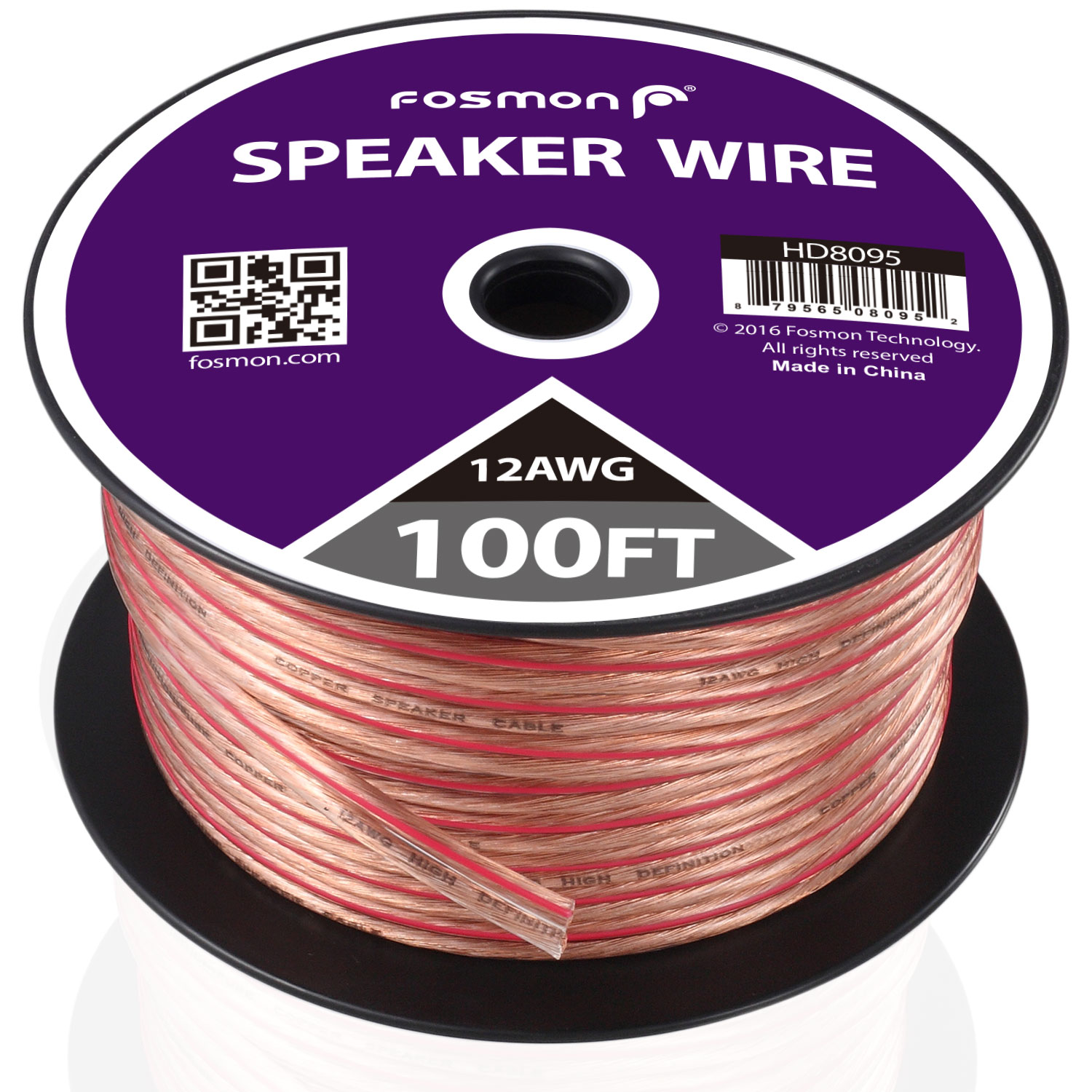Fosmon [12 Gauge | 100ft] 12AWG Copper-Clad Aluminum (CCA) Speaker Wire with Red Polarity Mark