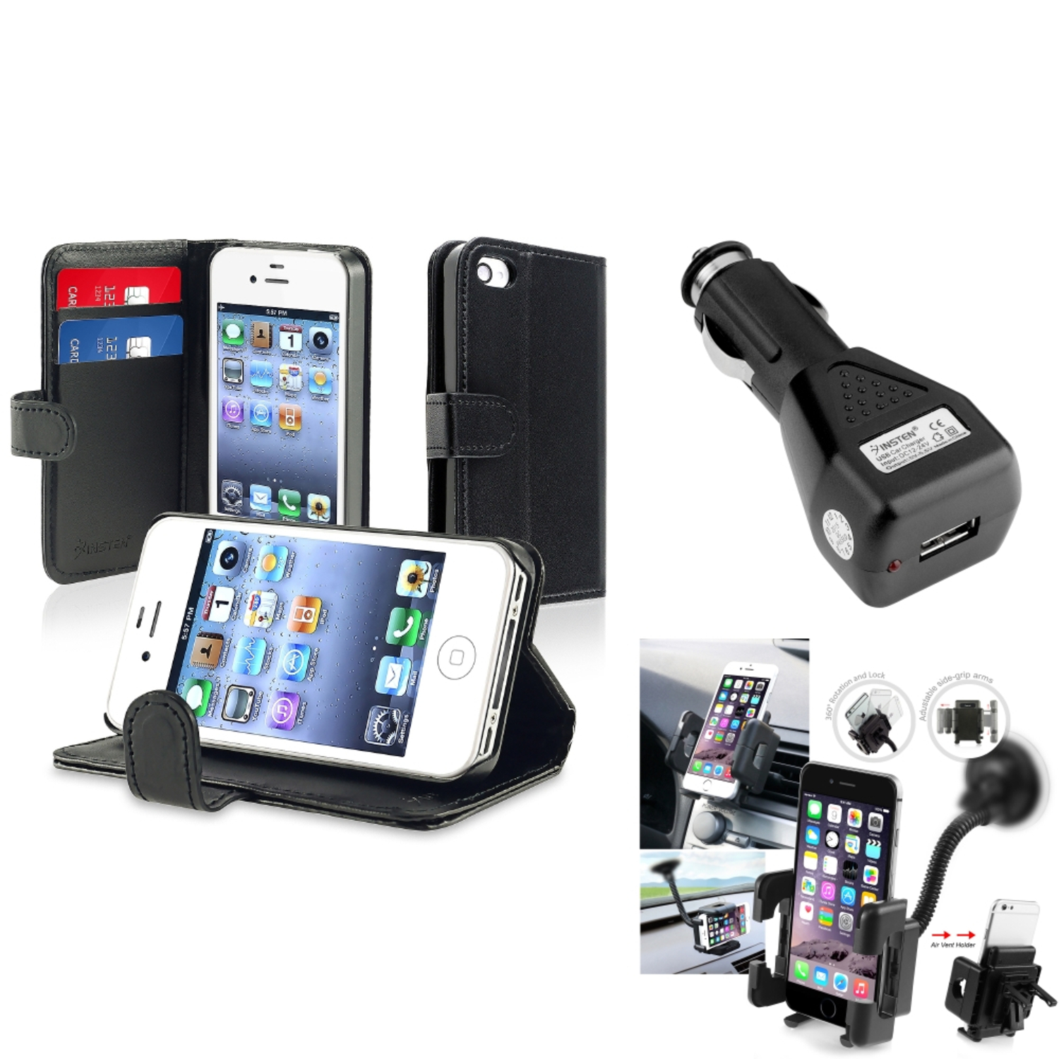 Insten Black Wallet Leather Case Cover Car Holder Charger For iPhone 4 4G 4th 4S