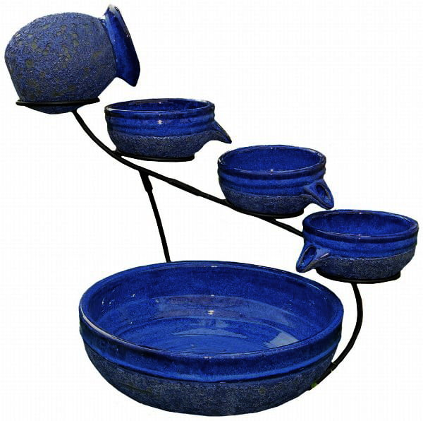 Smart Solar 4 Tier Solar Powered Cascading Fountain Blueberry Rustic Blue by Smart Solar