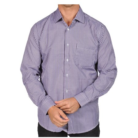 Mens Striped Button Down Shirts Purple Black White