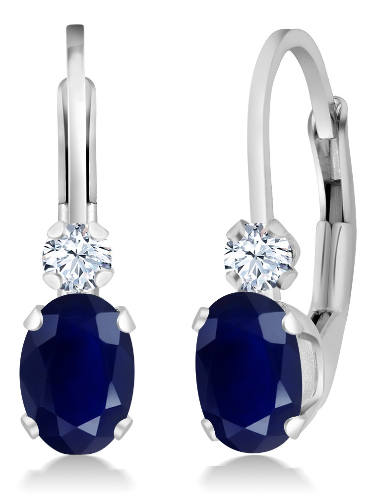 1.18 Ct Oval Blue Sapphire White Sapphire 925 Sterling Silver Leverback  Earrings