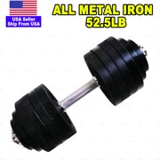 52.5lb Adjustable Dumbbell Metal Single Unit Adjustable Weights Black Plated Cast Iron