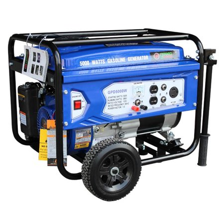 Gasoline Powered Portable Recoil Start Generator - 5000 Watts of starting power / 3850 Watts of continuous running power  with 223cc, 7.5HP and LCT (Devilbiss Air Power Company 5000 Watt Generator)