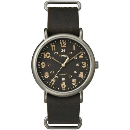 Men's Weekender Oversized Titanium-Tone Watch, Dark Brown Leather Slip-Thru Strap