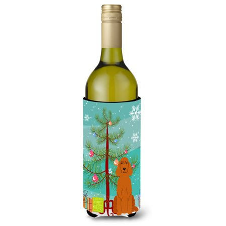 Merry Christmas Tree Irish Setter Wine Bottle Beverge Insulator Hugger - Christmas Room Setters