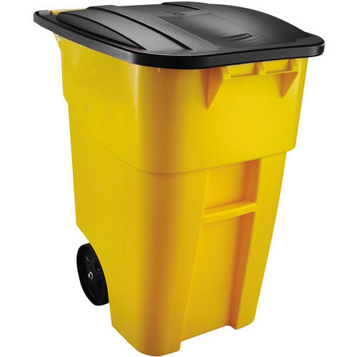 Rubbermaid Commercial Brute Square Plastic Rollout Container, 50 gallon