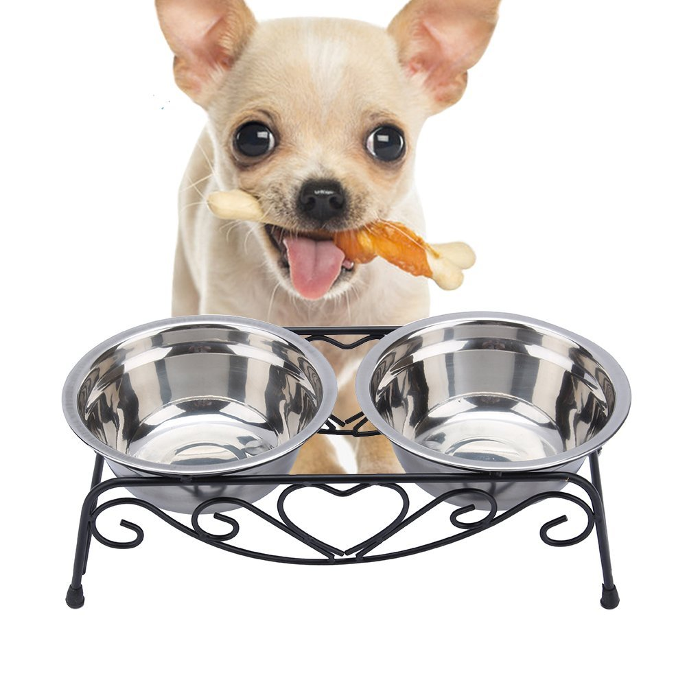 Double Stainless Steel Pet Dog Cat Food Water Bowls Dish Bowls with Retro Iron Stand