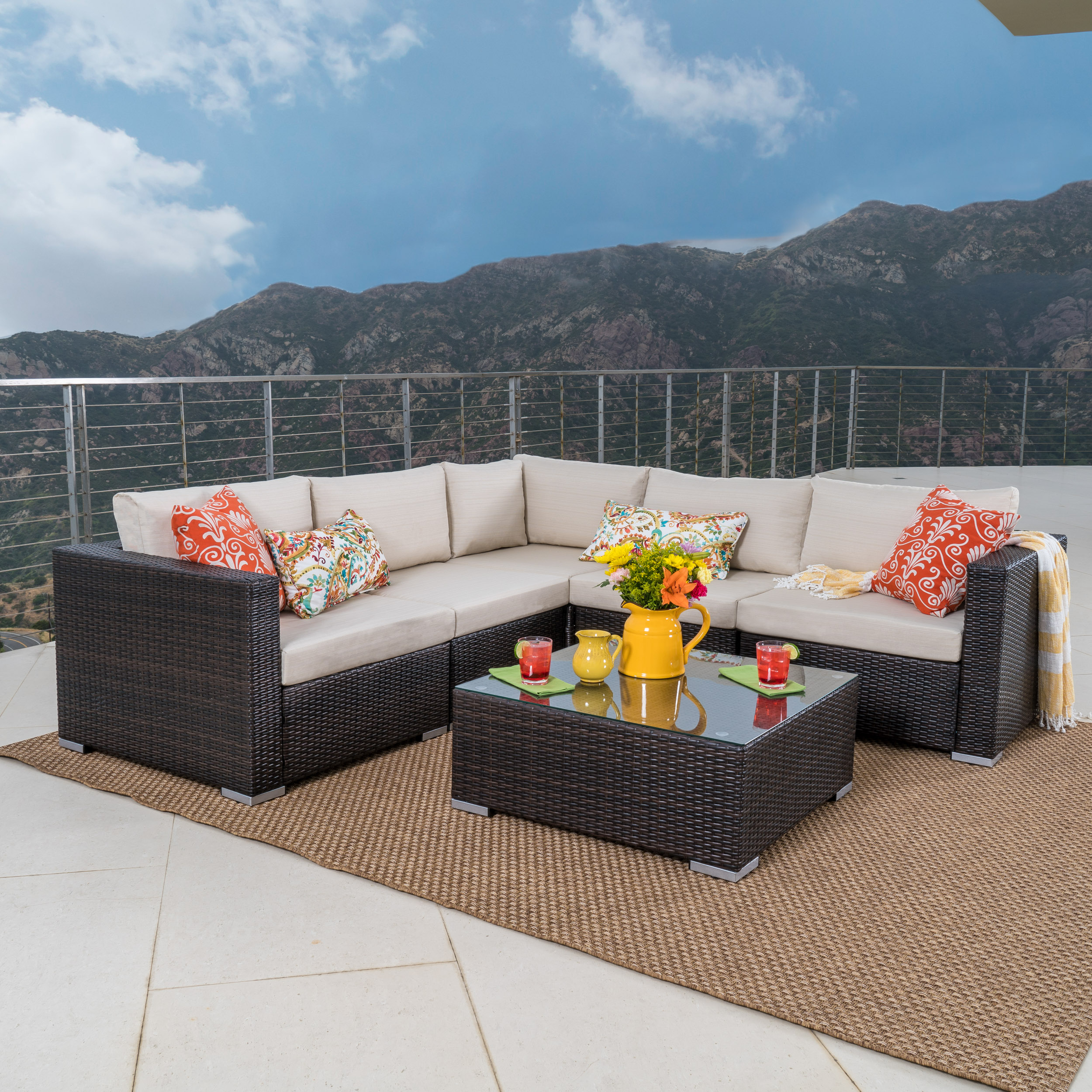 Faviola 5 Seater Outdoor Wicker Sectional Sofa Set With Aluminum Frame And  Cushions, Multibrown,
