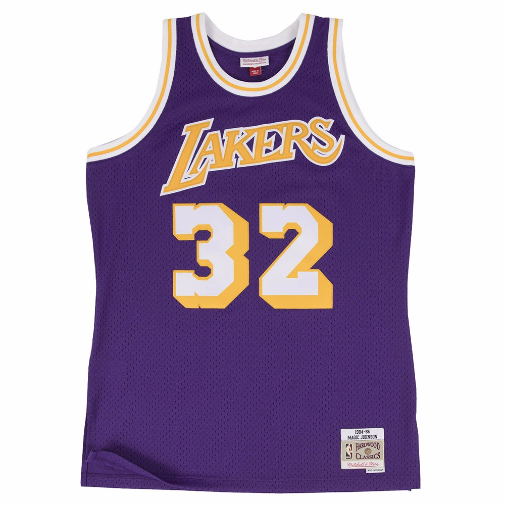 Magic Johnson Los Angeles Lakers NBA  Mitchell & Ness Purple 1984-85 Swingman Throwback Jersey For Men