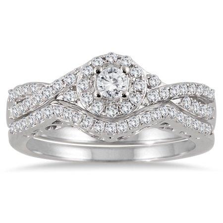 3 4 Carat Tw Braided Diamond Halo Bridal Set In 10K White Gold