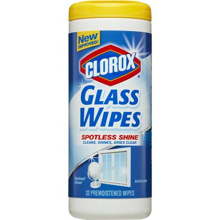 (2 pack) Clorox Glass Wipes, Streak Free Cleaning Wipes - Radiant Clean, 32 ct