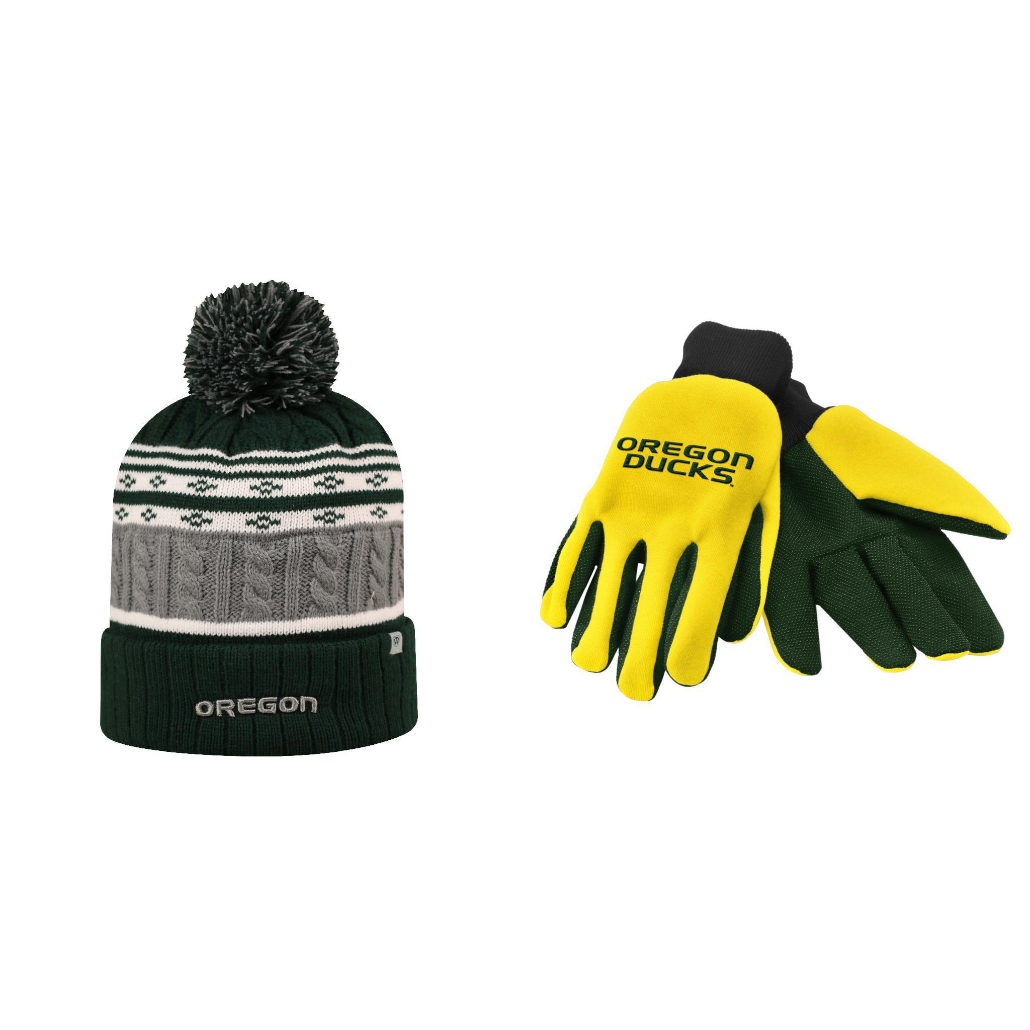 NCAA Oregon Ducks Altitude Beanie Hat And Grip Work Glove 2 Pack Bundle