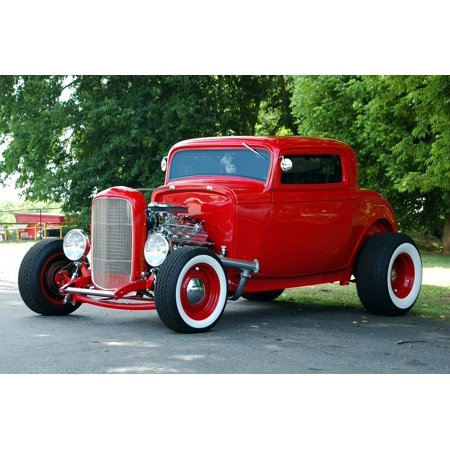 Peel-n-Stick Poster of Car Red Hot Rod Customized Retro Vintage Restored Poster 24x16 Adhesive Sticker Poster - Customized Stickers