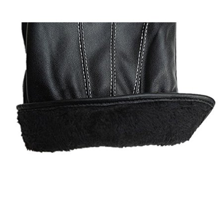 Cashmere Extra Long Gloves (Men's Fashion Waterproof Windproof PU Leather Gloves Winter Warm Cashmere Gloves Color:Black )