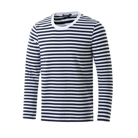 Unique Bargains Men's Basic Casual Pullover Crew Neck Long Sleeve Striped Tee T Shirt
