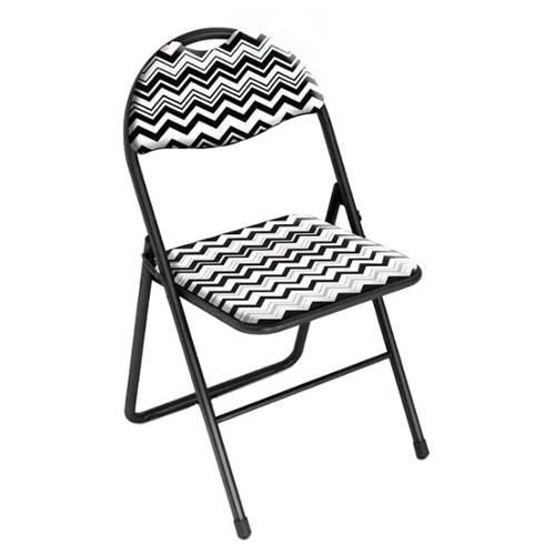 DarLiving urb SPACE Classic Cushioned Folding Chair Chevron Black and White (Set of 2)