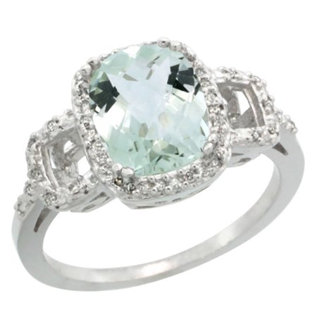 14K White Gold Diamond Natural Green Amethyst Ring Cushion-cut 9x7mm, sizes 5-10