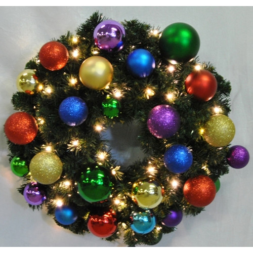 Queens of Christmas Pre-Lit Sequoia Wreath Decorated with Royal Ornament