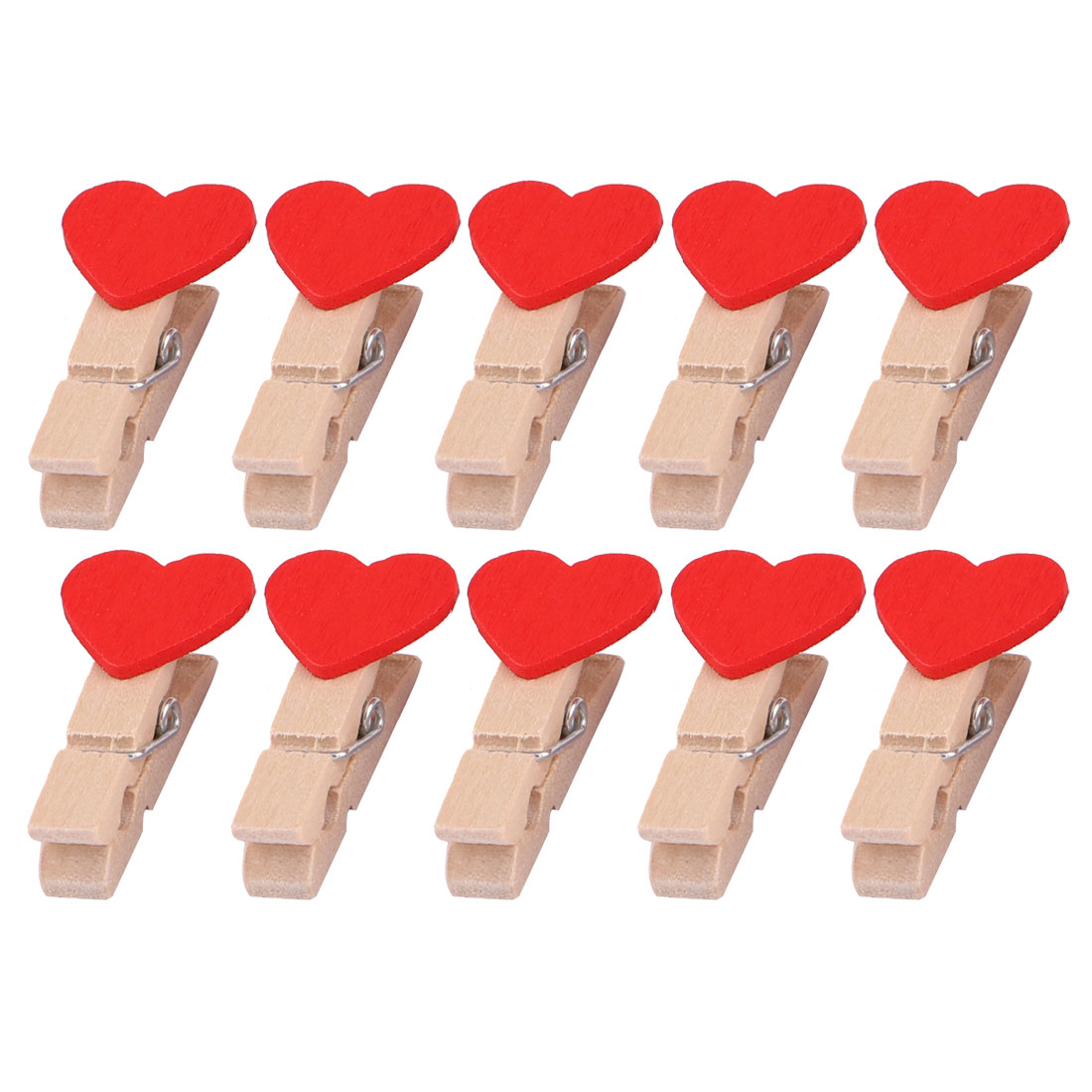 Family Wooden Heart Shape DIY Crafts Card Photo Ornament Peg Clip Red 10pcs