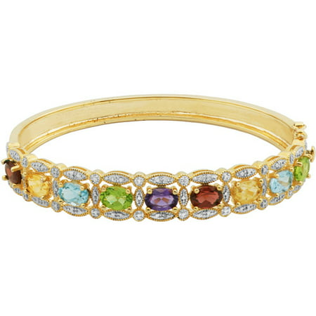 Multi Stone Silver Bangle (6.18 Carat T.G.W. Multi Genuine Gemstone 18kt Yellow Gold over Sterling Silver Bangle, 7.75