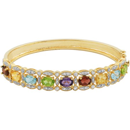 6.18 Carat T.G.W. Multi Genuine Gemstone 18kt Yellow Gold over Sterling Silver Bangle, 7.75