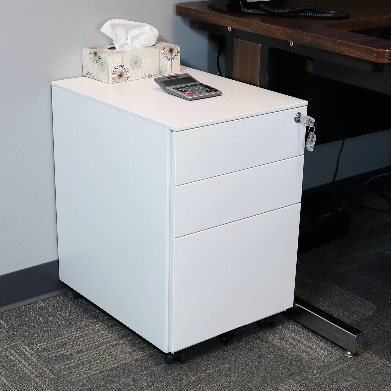 Delicieux CASL Brands Rolling Mobile File Cabinet Pedestal With Keyed Lock, Durable  Steel 3 Drawer Under Desk Office Filing Storage System, White   Walmart.com