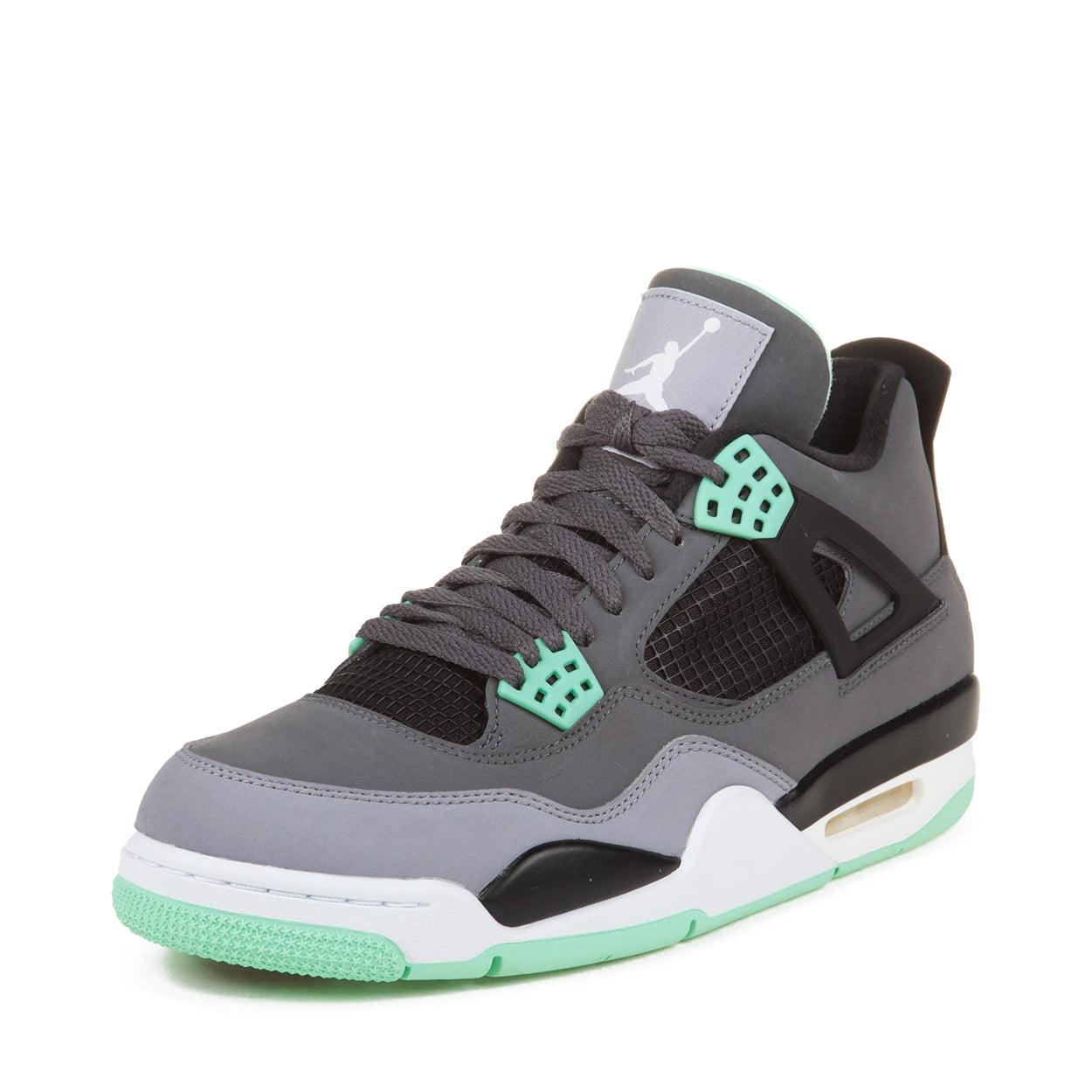 Nike Mens Air Jordan 4 Retro  Dark Grey/Green Glow-Cement...