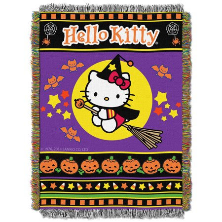 tapestry throw hello kitty halloween witchy woven blanket new 282117
