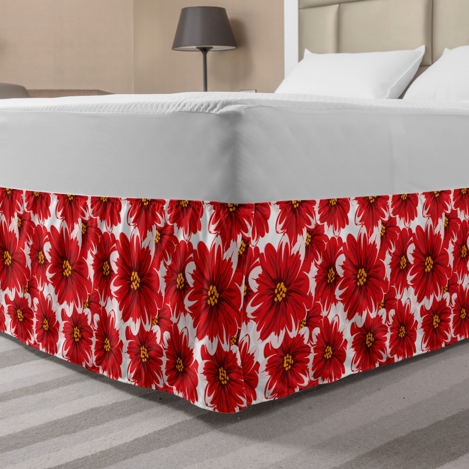Flower Bed Skirt Blossoming Nature Themed Fresh Seasonal Romantic Spring Bouquet Elastic Bedskirt Dust Ruffle Wrap Around For Bedding Decor 4 Sizes Baby Pink Vermilion By Ambesonne Walmart Com Walmart Com