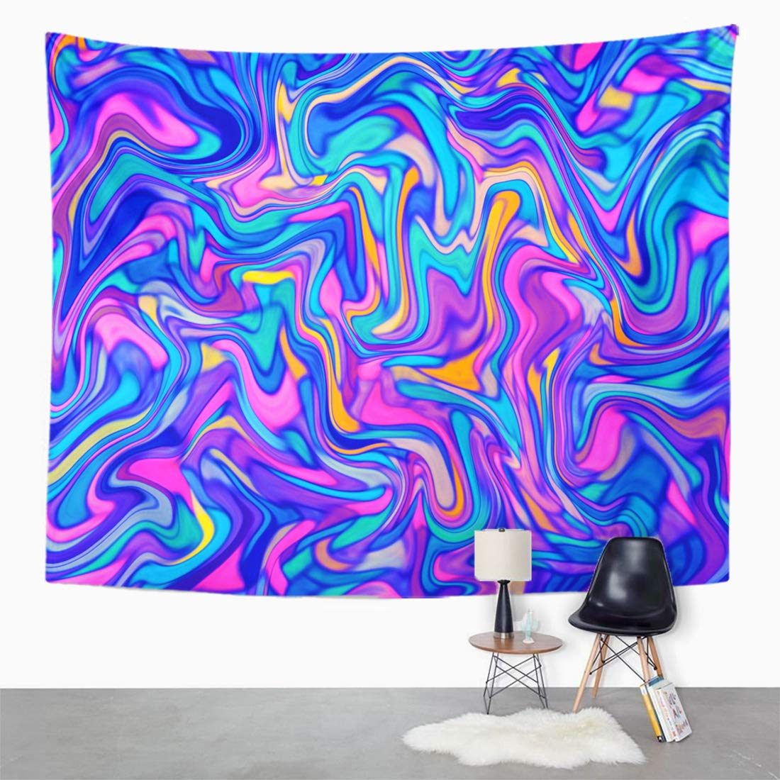 Zealgned Purple And Blue Color Palette Marbling Marble Abstract Wall Art Hanging Tapestry Home Decor For Living Room Bedroom Dorm 60x80 Inch Walmart Com Walmart Com